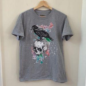 William Rast Raven Skull Flowers T-Shirt